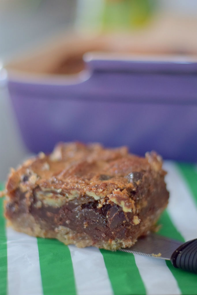 Chocolate Bourbon Pecan Pie Bars - Craving4More